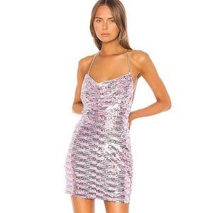 NWT Superdown Lisbeth Cowl Sequin Mini Dress